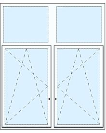 2 tlg. Fenster mit zwei Oberlichtern