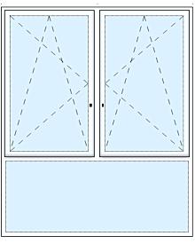 2 tlg. Fenster mit Unterlicht
