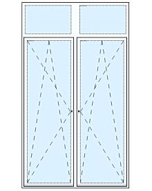 2 tlg Balkontüre mit zwei Oberlichtern Artikelnummer MF-17736 1014.41 Euro Fenster-Tueren  Shop meinfenster.de